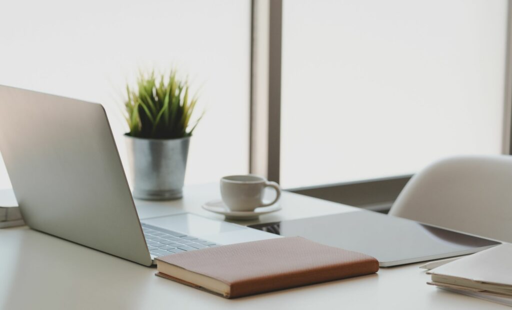 entrepreneurship and desk with laptop